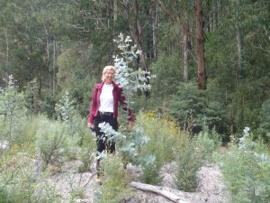 Liz MacPhee pictured at Bourkes spoil dump one year after planting