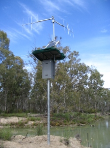 A data logger, solar panel and antennae array to assist with fish tracking on the upper Mullaroo, Arthur Rylah Institute.  (Photo courtesy of Arthur Rylah Institute)