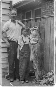 Figure 1. A 124 pound Murray Cod shot in the Barr Creek near Kerang 1939. On the left is Eddie Ashton, older brother of Mick Ashton who stands on the right. (Photo courtesy of Mick Ashton)