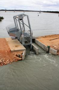 Figure 2 Carp cage installed at Lake Bonney (Photo courtesy of Leigh Thwaites)