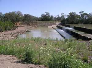 Figure 2 - Cunnamulla Weir, one of the priority sites identified for fish passage remediation in the northern basin. Photo courtesy of Scott Nichols