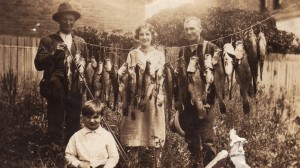 Figure 2. Photo of fish caught from the Goulburn River at McGee's Beach, Alexandra, 1924. Fish include trout cod, Murray cod, Macquarie perch and catfish. Young Russell Stillman is visible in the foreground. (Photo courtesy of Russell Stillman)
