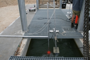Figure 3 - Trial of acoustic and didson sounders set within fishway looking out at exit. (Photo courtesy of Mick Bettanin, Fisheries NSW.)