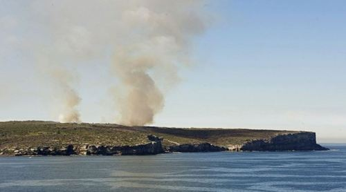 Fig 1. Broad area burning at North Head