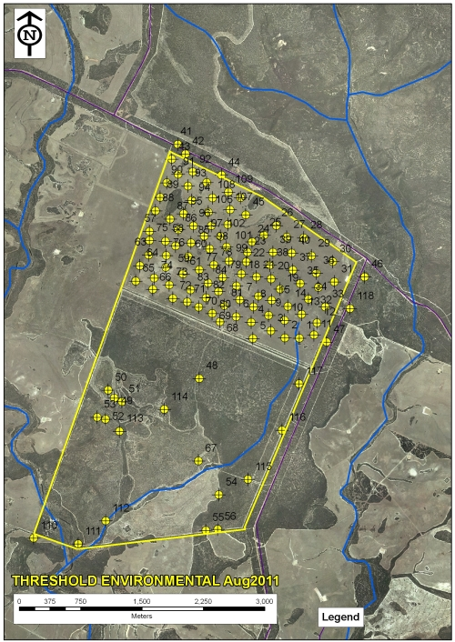 Figure 1: Map showing GPS locations of soil auger sampling locations.