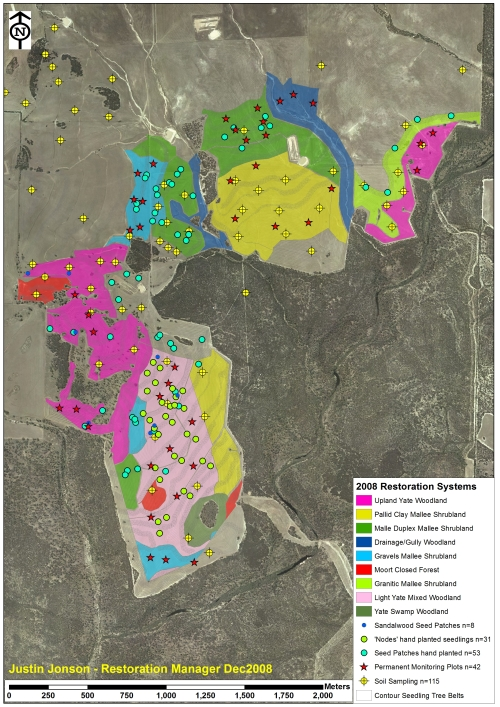 Figure 1. Map showing the 2008 operational areas at Peniup with replanted communities replanted by direct seeding, and GPS locations of permanent monitoring plots (n=42), patches of hand planted seedlings (n=31) and seed (n=61), pre-planning soil sampling sites (n=115) and contour oriented tree belts to ensure establishment across the site (direct seeded understory consistently here).