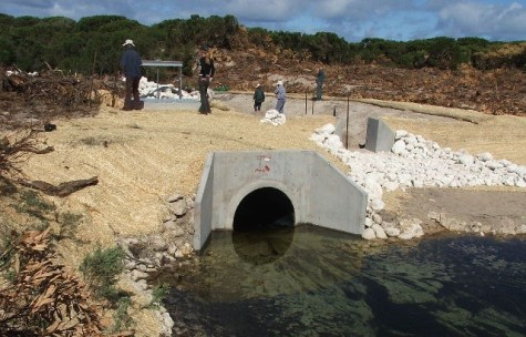 Fig. 1 – Stage 1 weir and fishway under construction in 2006.