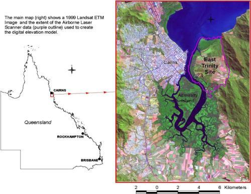 Figure 1. Aerial photo of he location of the East Trinity coastal and acid sulfate soil rehabilitation site (Source: Landsat 1999).