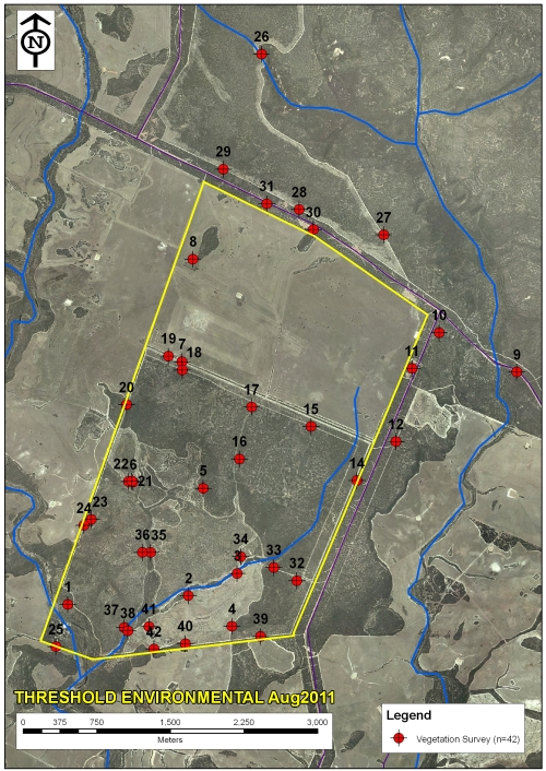 Figure 2: Map showing GPS locations of flora survey sampling sites.