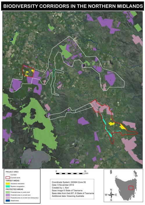 Map 1: Biodiversity Corridors in the Tasmanian Northern Midlands