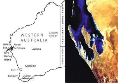 Figure 1. The Peron Peninsula divides the two major bays of the Shark Bay World Heritage Area, Western Australia.