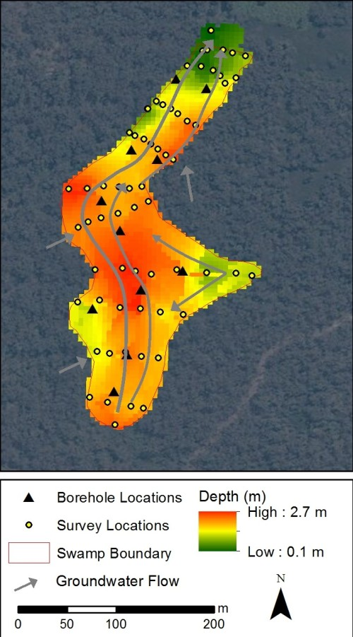 Figure 1: Example swamp depth survey and piezometer locations with conceptual groundwater flow paths