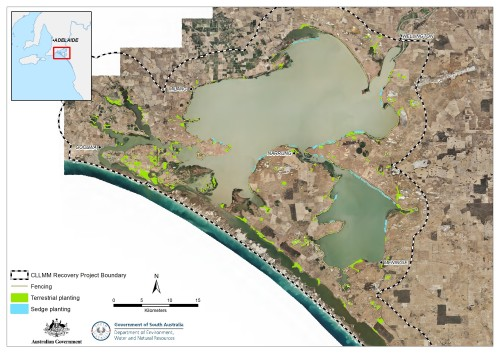 Fig. 1. The Coorong, Lower Lakes and Murray Mouth region showing terrestrial and aquatic plantings.