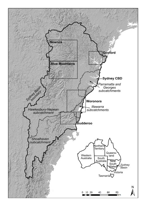 Figure 1: Regions in which THPSS occur in the Sydney Basin